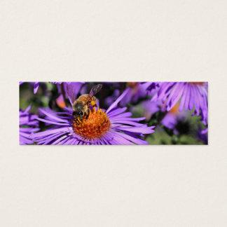 Bee On Purple Aster Flower Photo Mini Bookmark Mini Business Card