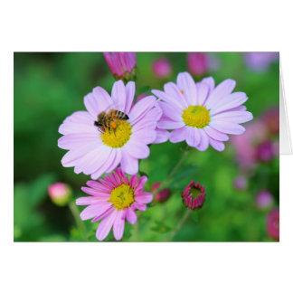 Bee On Purple Flower Blank Photo Note Card