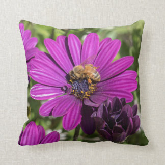 Bee on Purple flower cushion
