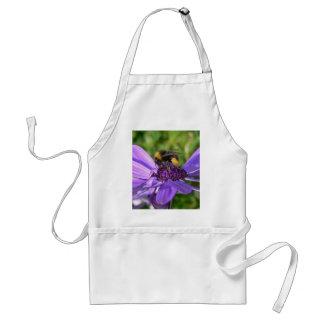 bee on purple flower standard apron