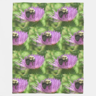 Bee On Thistle Fleece Blanket