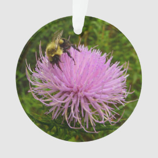 Bee on Thistle Flower Ornament