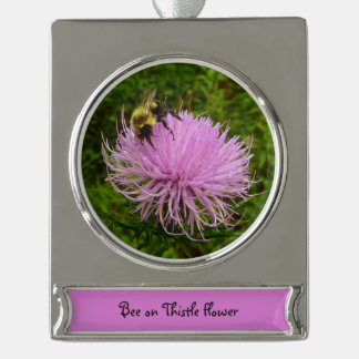Bee on Thistle Flower Silver Plated Banner Ornament