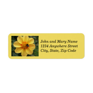 Bee on Yellow Dahlia Return Address Labels