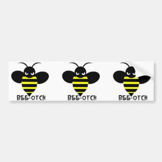 Bee-otch stickers black wings bumper sticker