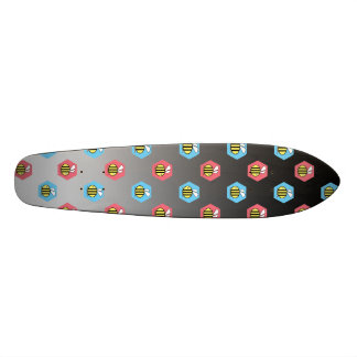 Bee pattern on black and white 20.6 cm skateboard deck