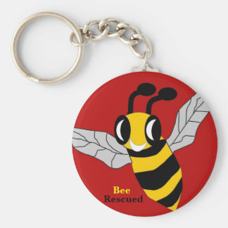 Bee Rescued Basic Round Button Key Ring