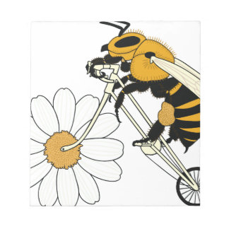Bee Riding Bike With Flower Wheel Notepad