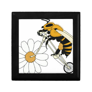 Bee Riding Bike With Flower Wheel Small Square Gift Box
