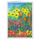 Bee Skep Watercolor Sunflowers Happy Birthday Card