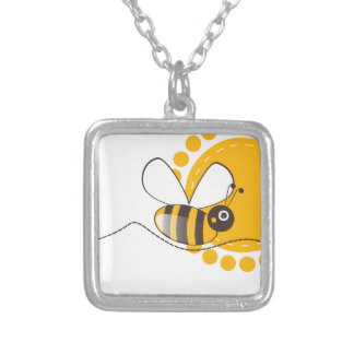 Bee Square Pendant Necklace