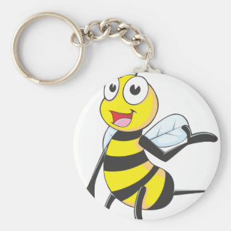 Bee Stickers : Bee Presenting with Hand Up Basic Round Button Key Ring