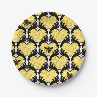 Bee Still My Heart Honey Bee Beehive Damask 7 Inch Paper Plate