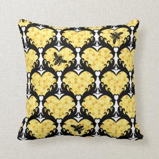 Bee Still My Heart Honey Bee Beehive Damask Throw Pillow