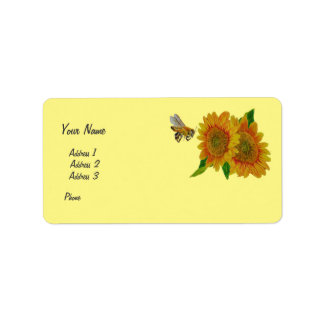 Bee Sunflowers Flowers Apiary Business Summer Address Label