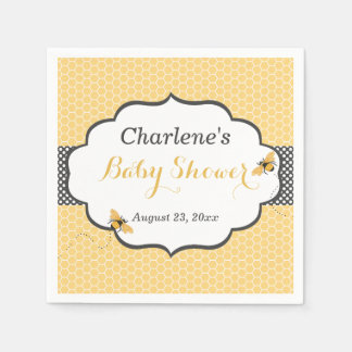 Bee Theme Honeycomb Gold & Gray Polka Dot Disposable Napkin