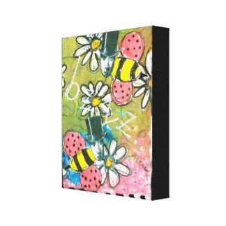 Bee Top Hat Daisies Collage Art Green Artistic Fun Canvas Print