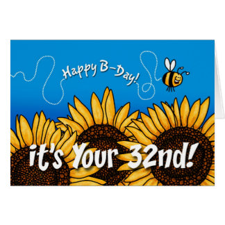 bee trail sunflower - 32 years old card