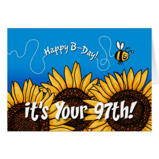 bee trail sunflower - 97 years old card