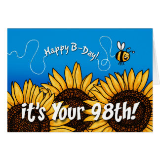 bee trail sunflower - 98 years old card