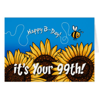 bee trail sunflower - 99 years old card