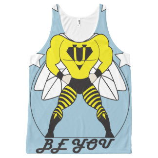 Bee U (Be You) white or red stars All-Over Print Singlet