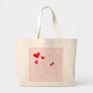 BEE VALENTINE HEARTS by SHARON SHARPE Jumbo Tote Bag
