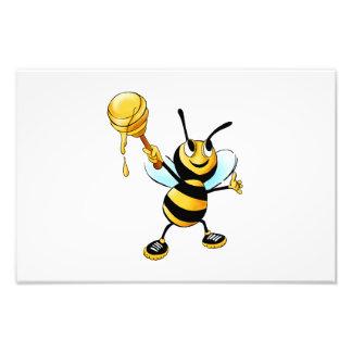 Bee with a honey spoon cartoon photo print