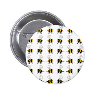 bee -  yellow 6 cm round badge