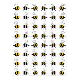 bee -  yellow postcard