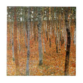 Beech Forest by Gustav Klimt Small Square Tile
