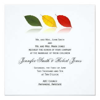 """Beech Forest - Leaf pattern in Green, Gold, Red 5.25"""" Square Invitation Card"""