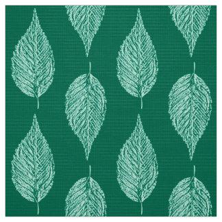 Beech Leaf Chalk Print, Turquoise and Aqua Fabric