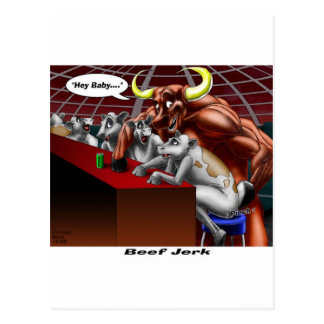Beef Jerky Origins Funny Cow & Bull Cartoon Gifts Postcard