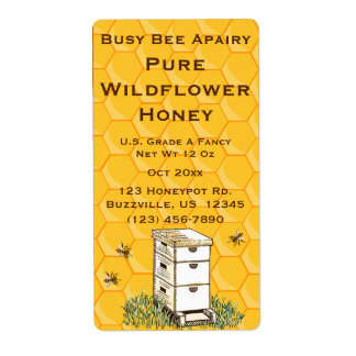 Beehive and Honeycomb Personalised Apiary Shipping Label
