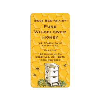 Beehive and Honeycomb Personalised Apiary Style 2 Label