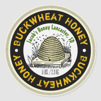 Beehive Buckwheat Honey Customized Honey Jar Label