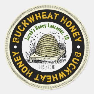 Beehive Buckwheat Honey Customized Honey Jar Label Round Sticker