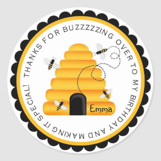 Beehive Bumblebee Birthday Favor Stickers