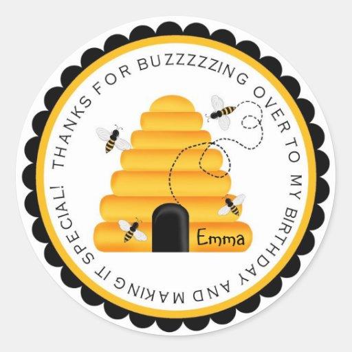 Beehive Bumblebee Birthday Favor Stickers