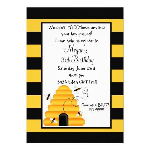Beehive Bumblebee Birthday Invitations