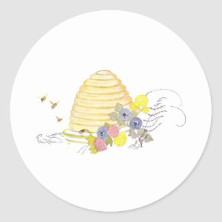 Beehive of Coiled Straw and Flowers Classic Round Sticker
