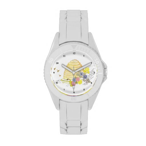 Beehive of Coiled Straw and Flowers Wrist Watches