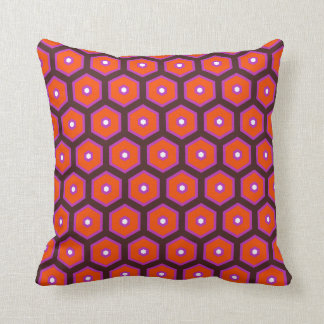 Beehive swinging Sixties style orchid, orange Throw Cushions
