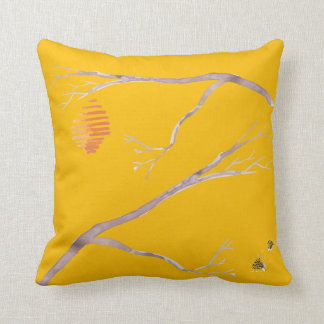 Beehive Watercolor Pillow with Branches Cushion