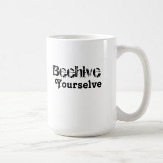 Beehive yourselve classic white coffee mug