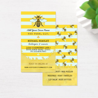 Beekeeper Apiary Bee Farm Honeybees and Stripes Business Card