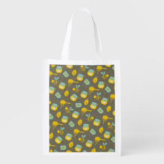 Beekeeper Honey Dipper Pattern Reusable Grocery Bag