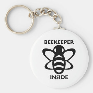 Beekeeper Inside Black White Bee Drawing Keychains
