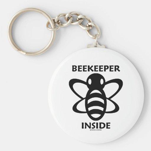 Beekeeper Inside (Black White Bee Drawing) Keychains